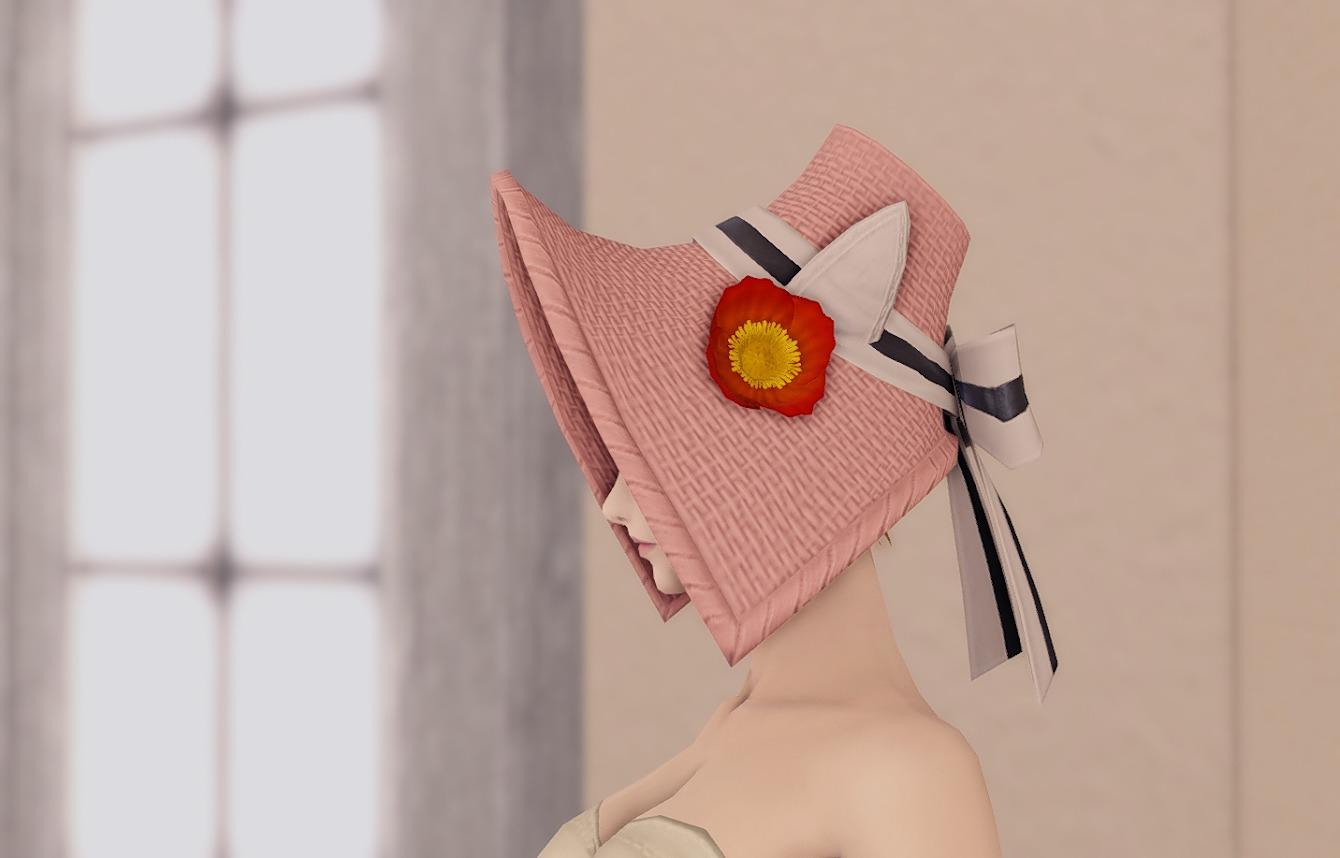 スプリングストローハットローズピンク装飾アップ
