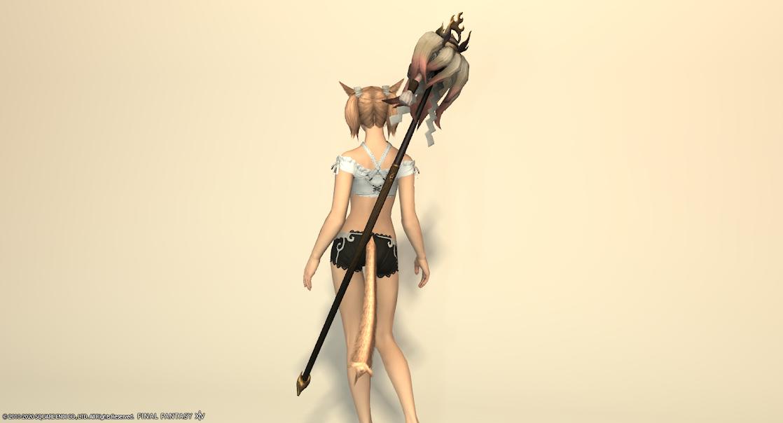 白狐装備白武器ローズピンク納刀
