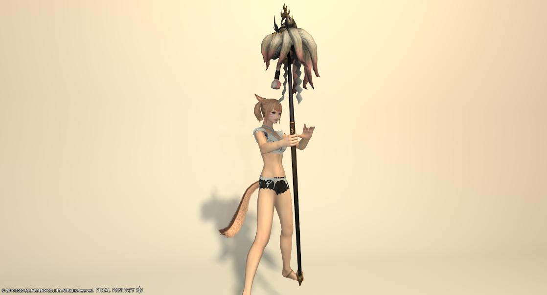 白狐装備白武器ローズピンク