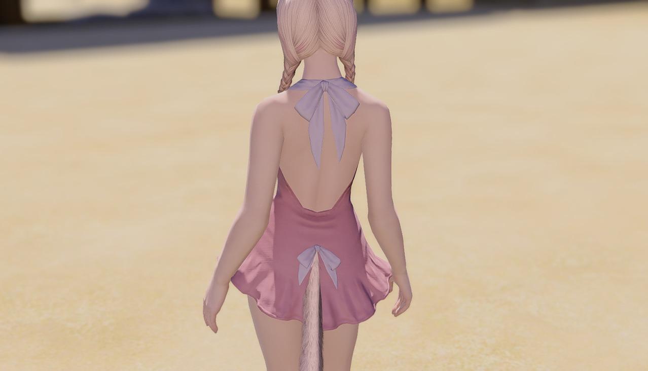 サザンシーワンピースローズピンク背面