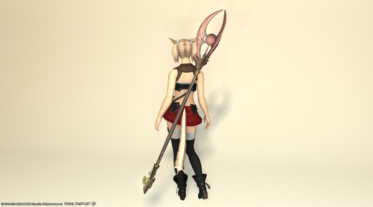 サリャクキャスター装備黒武器ローズピンク納刀