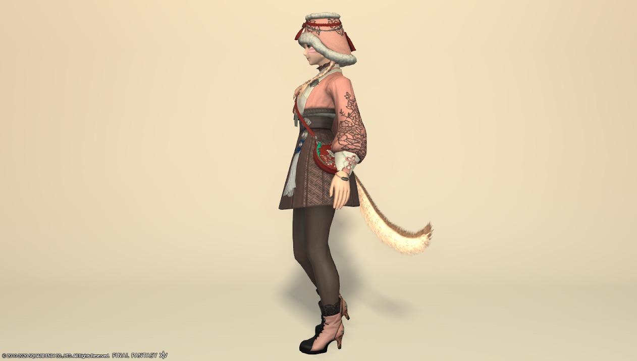 東方美姫衣装セット全身ローズピンクサイド