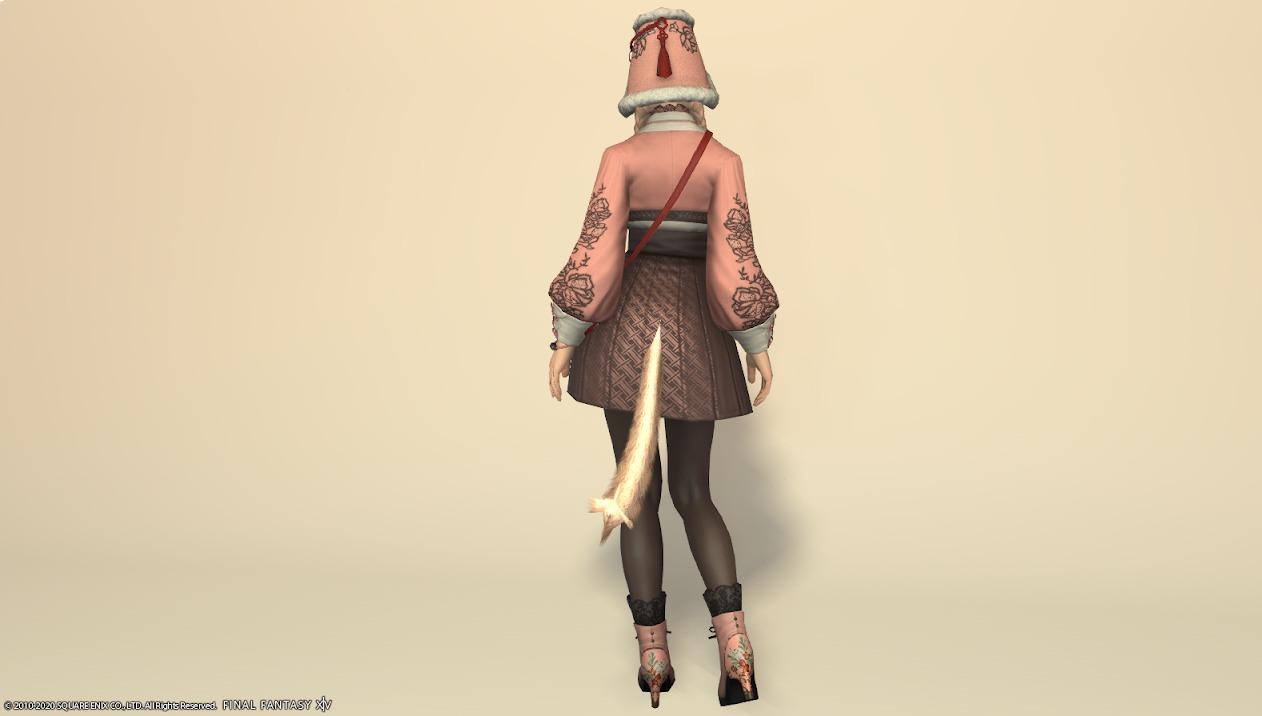 東方美姫衣装セット全身ローズピンク背面