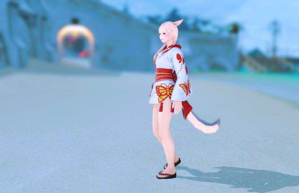 紅蝶姫君浴衣下駄合わせサイド