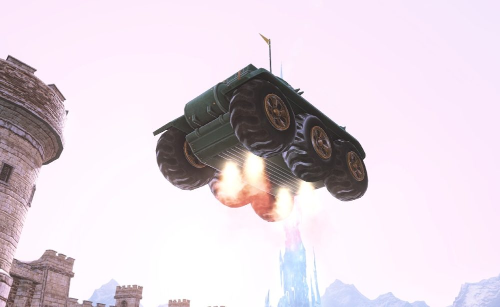 ドワーフ戦車飛行下から