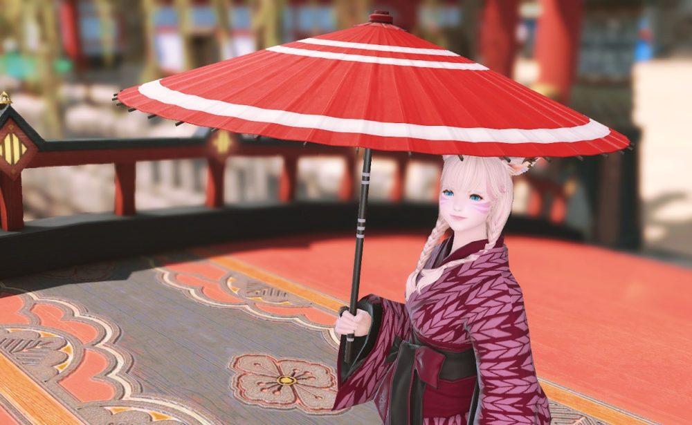 紅漆塗番傘
