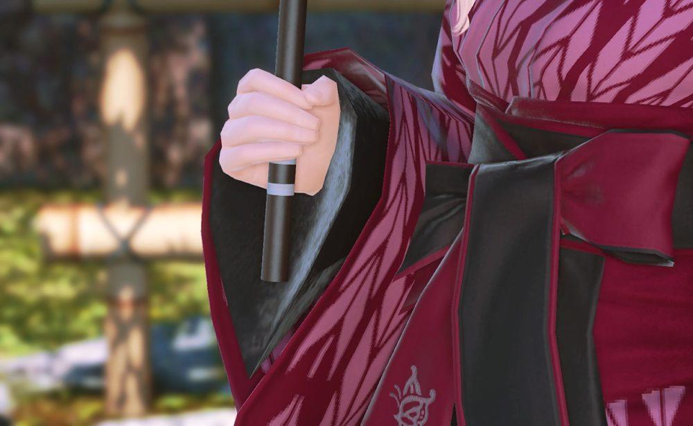紫漆塗番傘持ち手