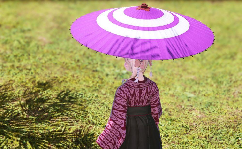 紫漆塗番傘背面