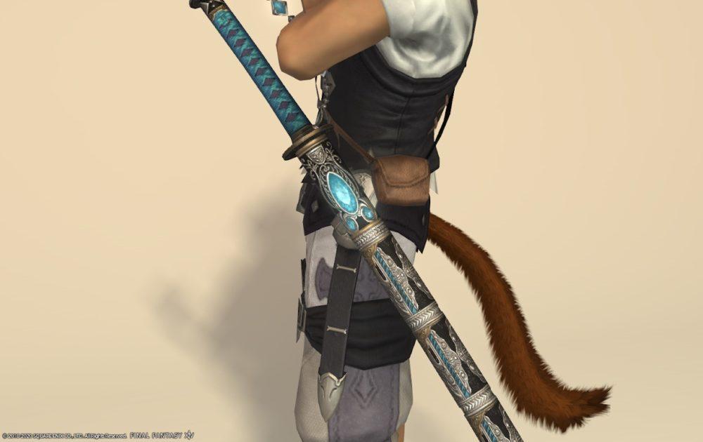 エデン侍武器メタリックスカイブルー納刀アップ